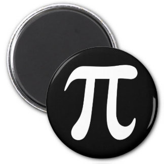 White pi symbol on black background refrigerator magnet