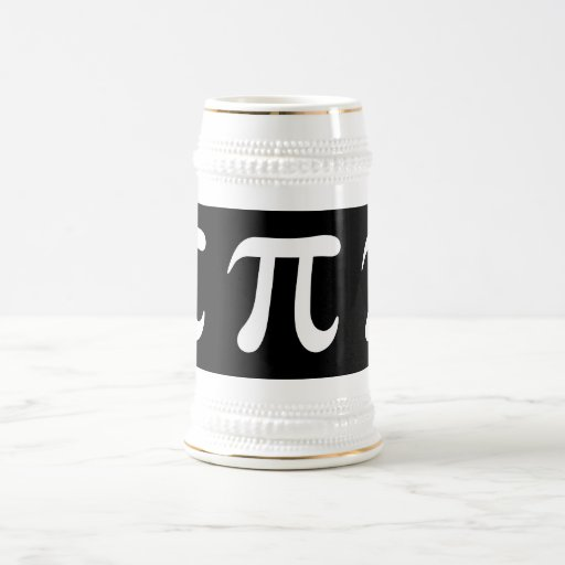 White pi symbol on black background mugs