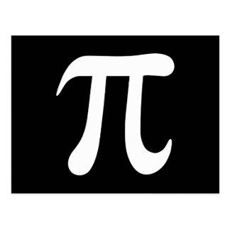 White pi symbol on black background postcard