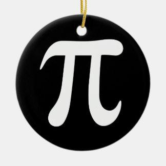 White pi symbol on black background round ceramic decoration