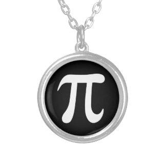 White pi symbol on black background round pendant necklace