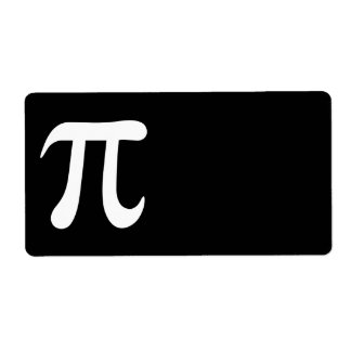 White pi symbol on black background shipping label