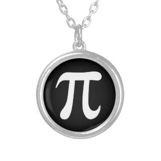 White pi symbol on black background silver plated necklace