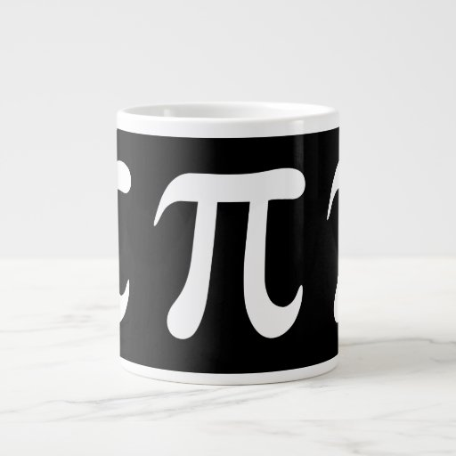 White pi symbol on black background jumbo mugs