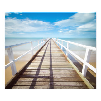 White pier on the ocean coast photo print
