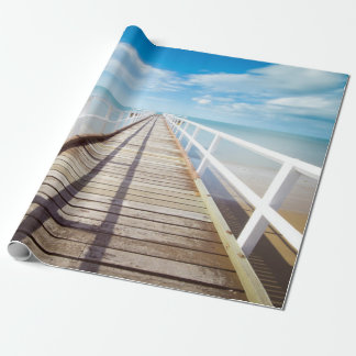 White pier on the ocean coast wrapping paper