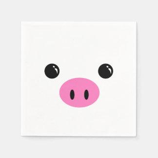 White Piglet Cute Animal Face Design Paper Napkins