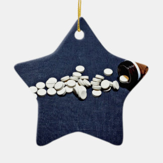 White pills glass bottle ceramic ornament