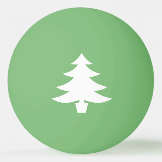 White Pine Tree Shape on Green Ping Pong Ball