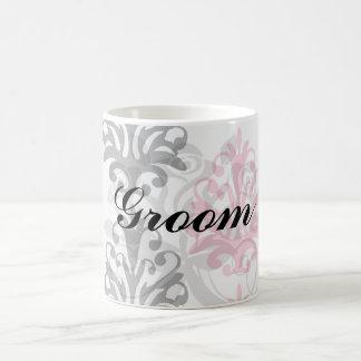 white pink and black chic damask basic white mug