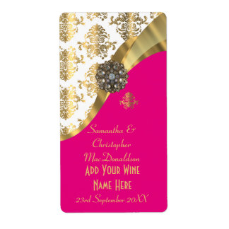 White, pink and gold damask wedding wine bottle shipping label