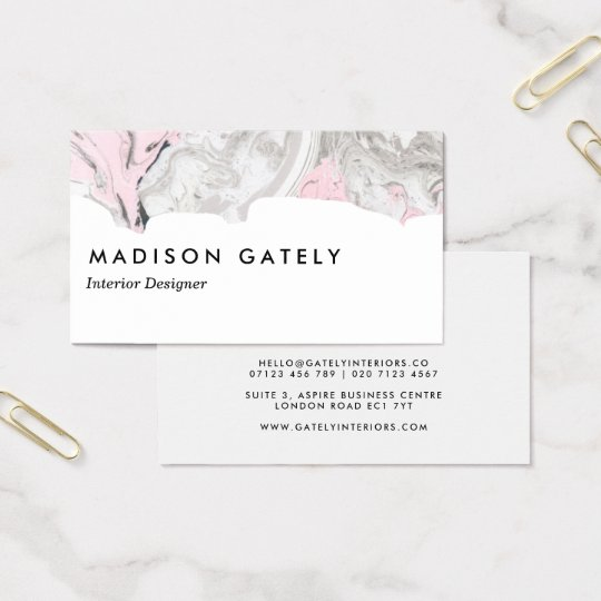 White Pink and Grey Marble Business Card