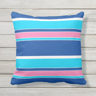 White Pink Aqua Turquoise Blue Stripes Pattern Outdoor Cushion