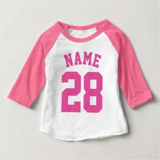 White & Pink Baby | Sports Jersey Design Baby T-Shirt