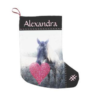 white pink black / horse & heart Christmas Horse Small Christmas Stocking