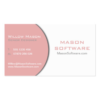 White & Pink Corporate Technology Business Card
