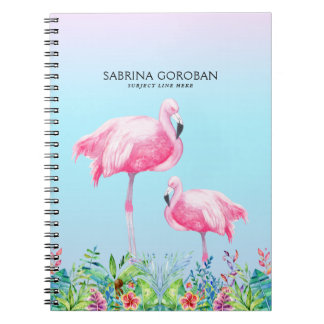 White & Pink Flamingos With Tropical Flowers Notebook