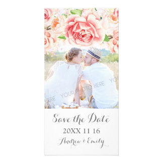 White Pink Floral Save the Date Wedding Photo Personalized Photo Card