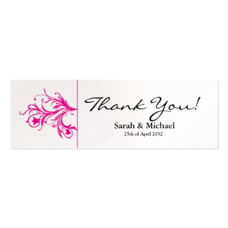 White & Pink floral Wedding favor Gift tag Business Card