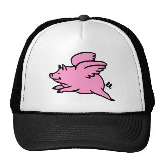 White Pink Flying Pig Hat