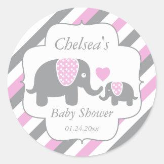 White, Pink & Gray Stripe Elephants Baby Shower Classic Round Sticker