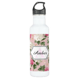 White pink Hydrangea floral seamless pattern 710 Ml Water Bottle