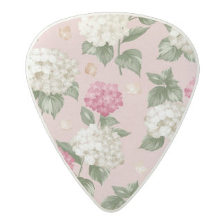 White pink Hydrangea floral seamless pattern Acetal Guitar Pick