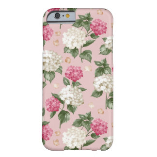 White pink Hydrangea floral seamless pattern Barely There iPhone 6 Case