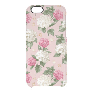 White pink Hydrangea floral seamless pattern Clear iPhone 6/6S Case