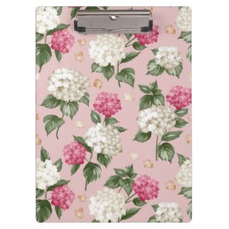 White pink Hydrangea floral seamless pattern Clipboard