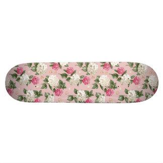 White pink Hydrangea floral seamless pattern Custom Skate Board