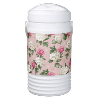White pink Hydrangea floral seamless pattern Drinks Cooler