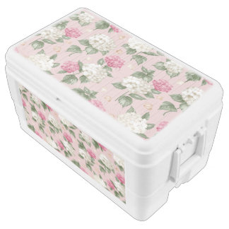 White pink Hydrangea floral seamless pattern Ice Chest