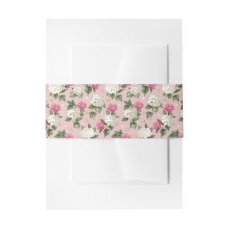 White pink Hydrangea floral seamless pattern Invitation Belly Band