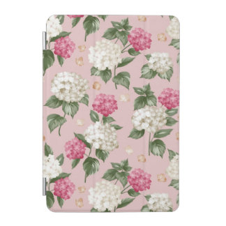 White pink Hydrangea floral seamless pattern iPad Mini Cover