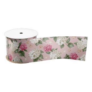 White pink Hydrangea floral seamless pattern Satin Ribbon