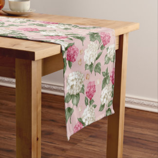 White pink Hydrangea floral seamless pattern Short Table Runner