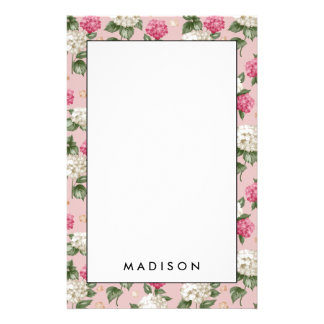 White pink Hydrangea floral seamless pattern Stationery