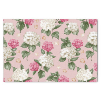 White pink Hydrangea floral seamless pattern Tissue Paper