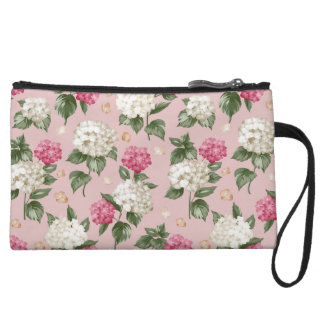 White pink Hydrangea floral seamless pattern Wristlet