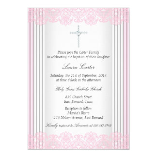 White Pink Lace Cross Baptism Christening Card