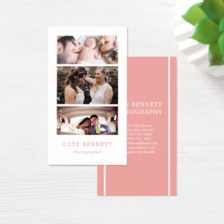 White & Pink - Minimal Photo Collage Photographer Business Card