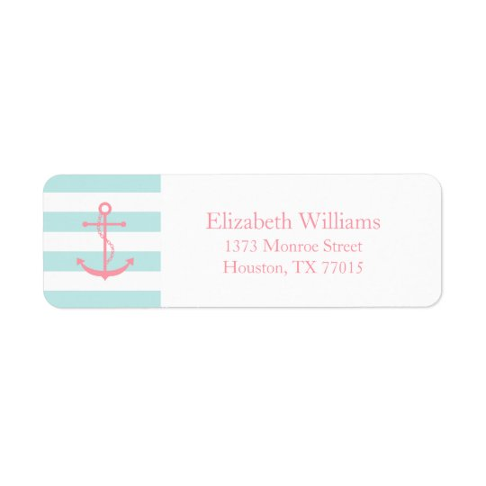 White Pink Mint Anchor and Stripes Return Address Label