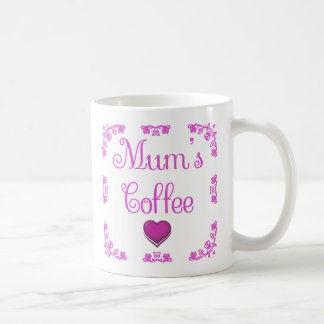 White Pink Mum's Coffee Mug with Heart and Roses