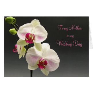 White pink orchids Thank you Mother for my Wedding Card