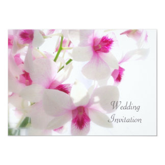 White - pink orchids Wedding Invitation