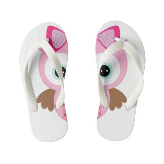 White & Pink Owl Flip Flops Thongs