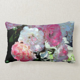 white pink peonies lumbar cushion