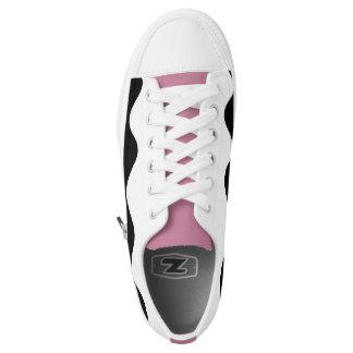 White / Pink printed designer Sneakers