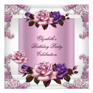 White Pink Purple Roses Elegant Birthday Party Announcements